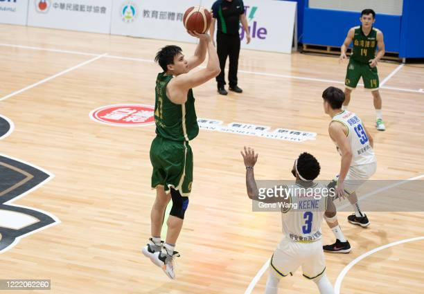 Hao Chi Wang made a three point shot during the SBL Finals Game Six between Taiwan Beer and Yulon Luxgen Dinos at Hao Yu Trainning Center on April...