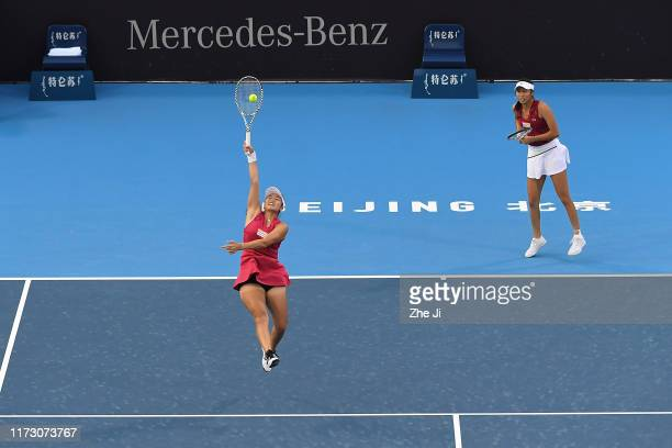 Hao Ching Chan of Chinese Taipei and Latisha Chan of Chinese Taipei return a shot against their Women's doubles second round match of 2019 China Open...