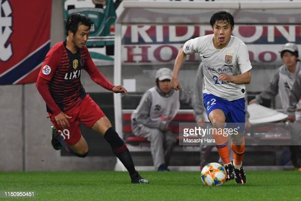 Hao Junmin of Shandong Luneng in action during the AFC Champions League Group E match between Kashima Antlers and Shandong Luneng at Kashima Soccer...