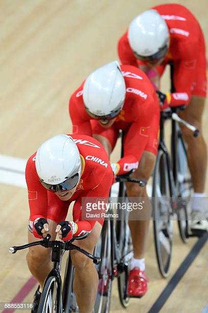 Hao Liu Chenlu Qin and Pingan Shen of China compete in the Men's Team Pursuit Track Cycling Qualifying on Day 6 of the 2016 Rio Olympics at Rio...