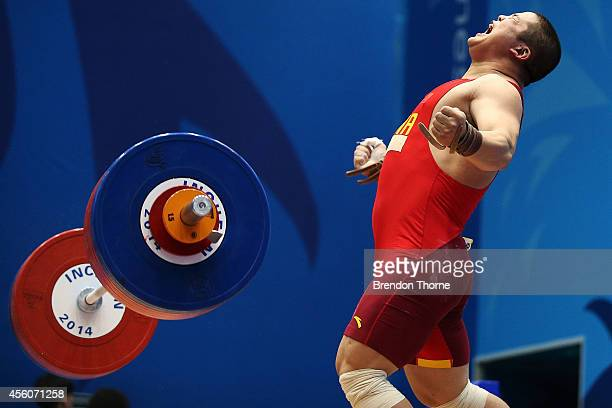 Hao Lui of China celebrates in the Men's 94kg Weightlifting Final during day six of the 2014 Asian Games at Moonlight Festival Garden Weightlifting...