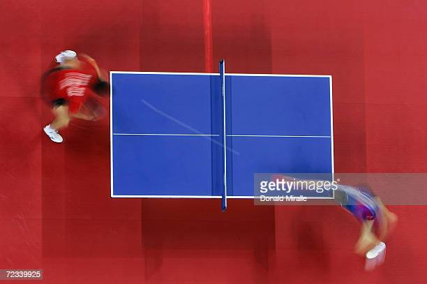 Hao Wang of China and Seung Min Ryu of Korea compete in the men's singles table tennis gold medal match on August 23 2004 during the Athens 2004...