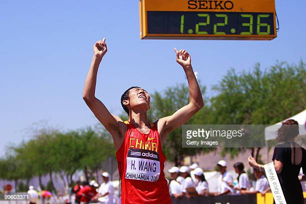 Hao Wang of China celebrates winning the mens 20 Km Walking race competition at the IAAF World Race Walking Cup Chihuahua 2010 at Deportiva Sur...