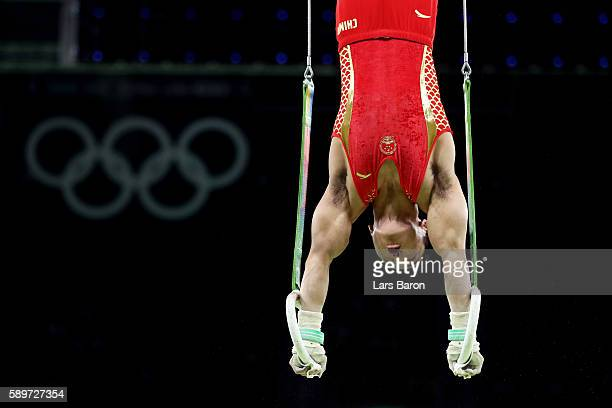 Hao You of China competes in the Men's Rings Final on day 10 of the Rio 2016 Olympic Games at Rio Olympic Arena on August 15 2016 in Rio de Janeiro...