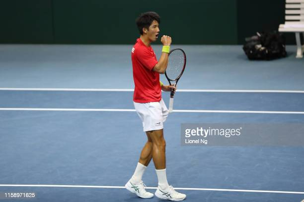 Hao Yuan Ng of Singapore reacts during his men's singles playoff match against Shahin Khaledan of Iran during day four of the Davis Cup Asia/Oceania...