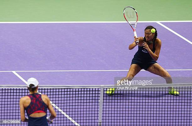 HaoChing Chan of Chinese Taipei in action while playing with YungJan Chan of Chinese Taipei against Caroline Garcia of France and Katarina Srebotnik...