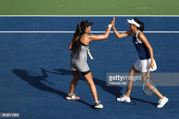 HaoChing Chan of Taiwan and Zhaoxuan Yang of China celebrates a point during the women's doubles semi final match on day four of the WTA Dubai Duty...
