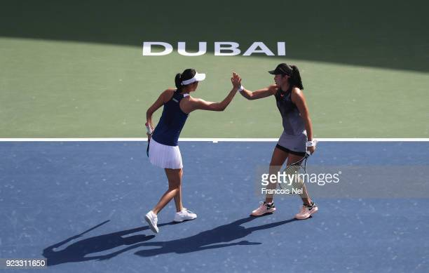 HaoChing Chan of Taiwan and Zhaoxuan Yang of China celebrates after winning the women's doubles semi final match against Alicja Rosolska of Poland...
