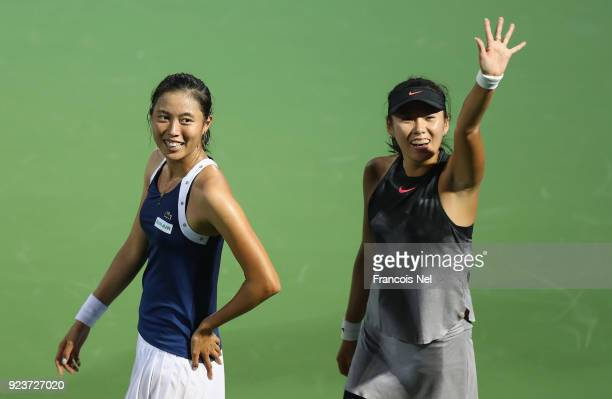 HaoChing Chan of Taiwan and Zhaoxuan Yang of China celebrates after winning the Women's Doubles Final match during day six of the of the WTA Dubai...
