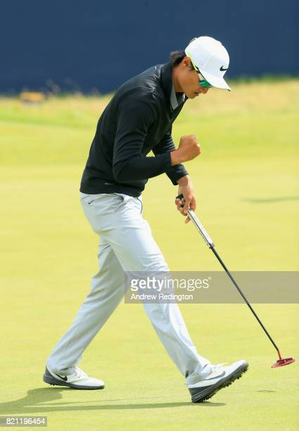 Haotong Li of China celebrates a birdie on the 18th hole during the final round of the 146th Open Championship at Royal Birkdale on July 23 2017 in...