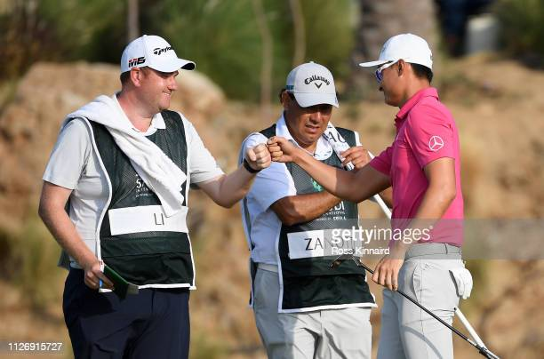 Haotong Li of China celebrates his forth eagle of his round during the third round of the Saudi International at the Royal Greens Golf Country Club...