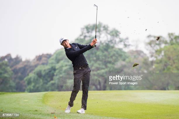 Haotong Li of China hits a shot during round three of the UBS Hong Kong Open at The Hong Kong Golf Club on November 25 2017 in Hong Kong Hong Kong
