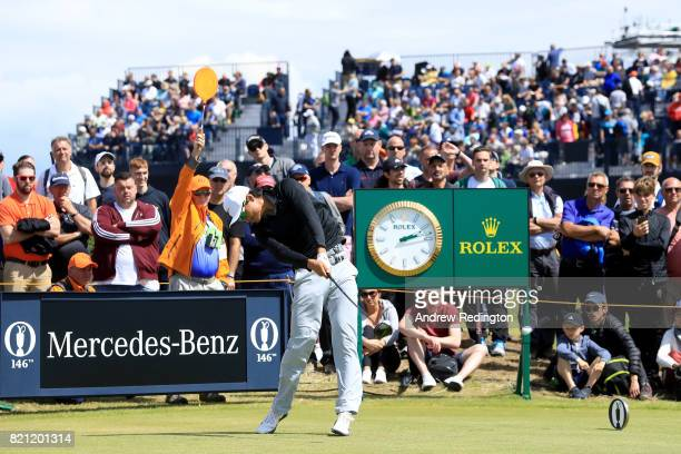 Haotong Li of China hits his tee shot on the 15th hole during the final round of the 146th Open Championship at Royal Birkdale on July 23 2017 in...