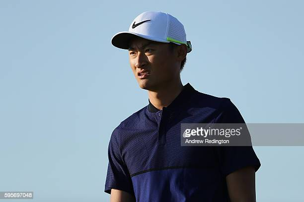 Haotong Li of China looks down the 12th hole during the second round of Made in Denmark at Himmerland Golf Spa Resort on August 26 2016 in Aalborg...