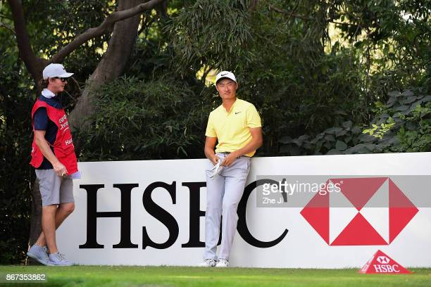 Haotong Li of China on the 9th hole during the third round of the WGC HSBC Champions at Sheshan International Golf Club on October 28 2017 in...