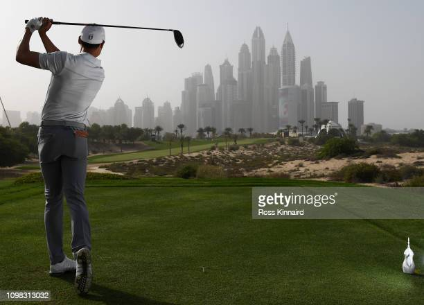 Haotong Li of China on the par four 8th tee during the proam event prior to the Omega Dubai Desert Classic at Emirates Golf Club on January 23 2019...