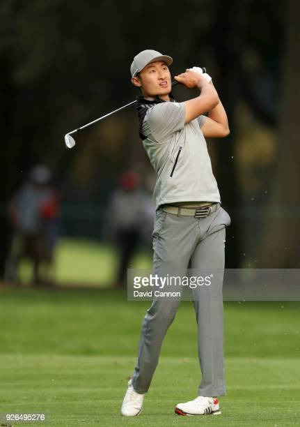 Haotong Li of China plays his tee shot on the par 4 18th hole during the second round of the World Golf ChampionshipsMexico Championship at the Club...