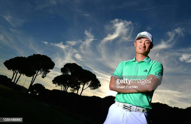 Haotong Li of China poses for a picture prior to the start of the Turkish Airlines Open on October 30 2018 in Antalya Turkey