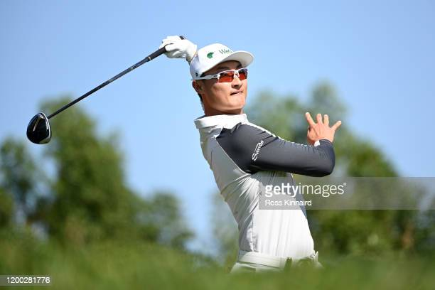 Haotong Li of China reacts after teeing off on the third during Day Three of the Abu Dhabi HSBC Championship at Abu Dhabi Golf Club on January 18,...