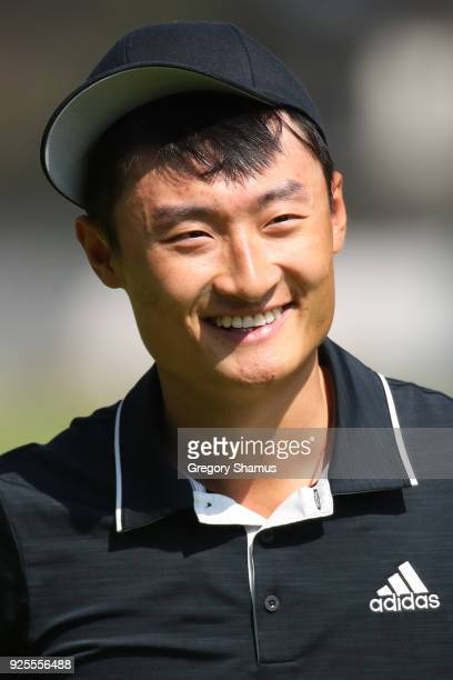 Haotong Li of China smiles during practice prior to World Golf ChampionshipsMexico Championship at Club de Golf Chapultepec on February 28 2018 in...