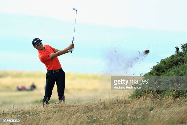 Haotong Li of China takes his second shot on hole four during day three of the Aberdeen Standard Investments Scottish Open at Gullane Golf Course on...