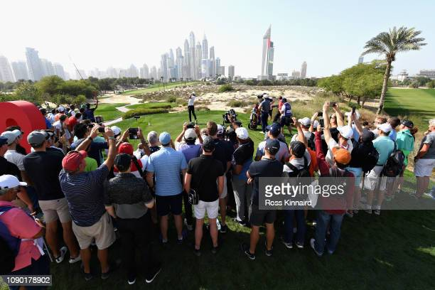 Haotong Li of China takes his tee shot on hole eight during Day Four of the Omega Dubai Desert Classic at Emirates Golf Club on January 27 2019 in...