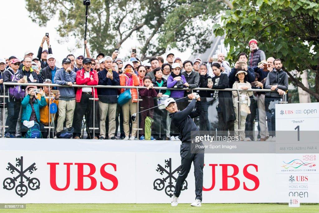Haotong Li of China tees off during round three of the UBS Hong Kong Open at The Hong Kong Golf Club on November 25, 2017 in Hong Kong, Hong Kong.