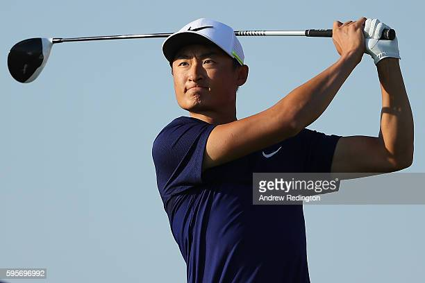Haotong Li of China tees off on the 12th hole during the second round of Made in Denmark at Himmerland Golf Spa Resort on August 26 2016 in Aalborg...