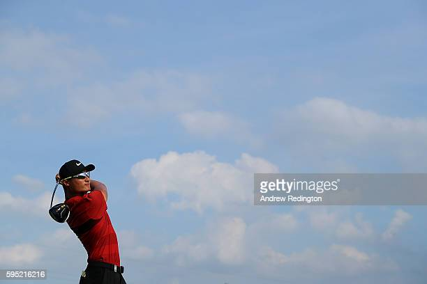 Haotong Li of China tees off on the 13th hole during the first round of Made in Denmark at Himmerland Golf Spa Resort on August 25 2016 in Aalborg...