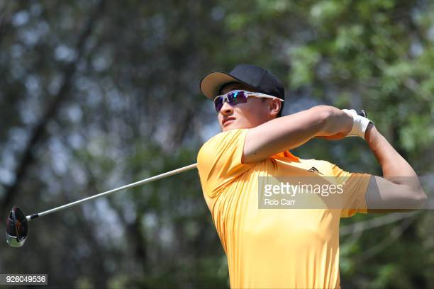 Haotong Li of China tees off on the 15th hole during the first round of World Golf ChampionshipsMexico Championship at Club de Golf Chapultepec on...