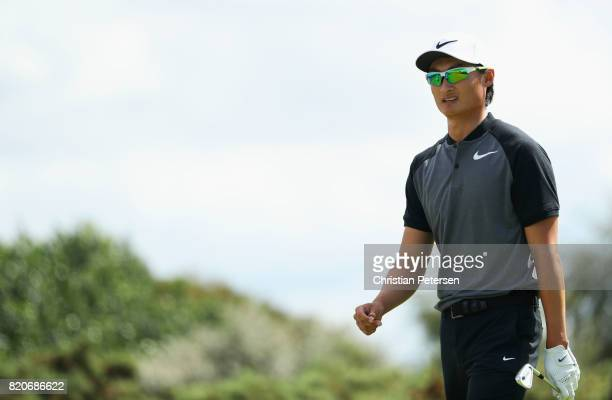 Haotong Li of China walks off the tee during the third round of the 146th Open Championship at Royal Birkdale on July 22 2017 in Southport England