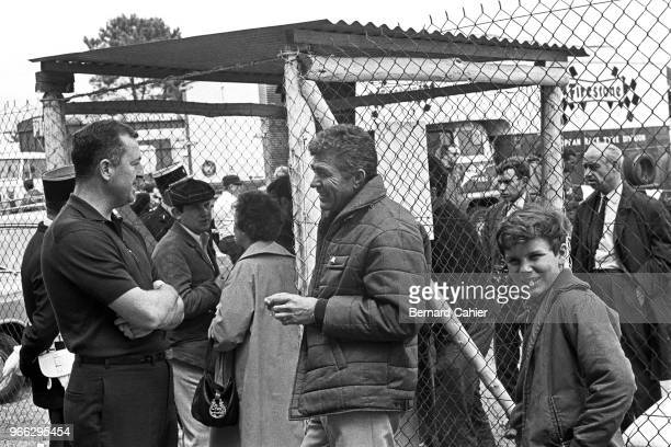 Hap Sharp, Carroll Shelby, Paul-Henri Cahier, 24 Hours of Le Mans, Le Mans, 19 June 1966. Hap Sharp, co-owner of Chaparral cars, with Carroll Shelby,...