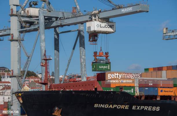 HapagLloyd Singapore Express Container Ship seen moored and downloading containers at Liscont containers terminal in Alcantara Docks of the city...