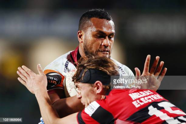 Hapakuki Moala-Liava'a of North Harbour charges into George Bridge of Canterbury during the round five Mitre 10 Cup match between North Harbour and...