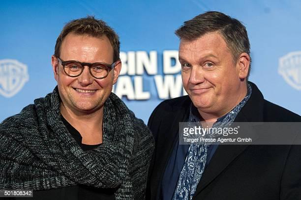 Hape Kerkeling and Devid Striesow attend the 'Ich bin dann mal weg' premiere at CineStar on December 17 2015 in Berlin Germany