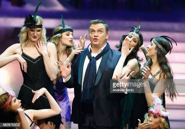 Hape Kerkeling performs on stage during the 'Wetten dass' tv show on April 5 2014 in Offenburg Germany