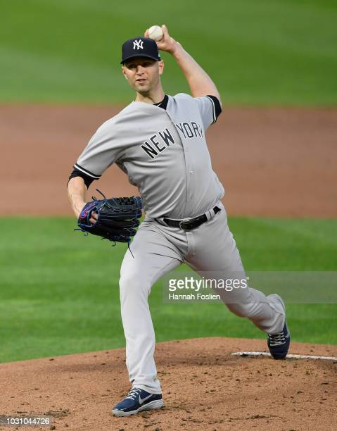 A Happ of the New York Yankees delivers a pitch against the Minnesota Twins during the first inning of the game on September 10 2018 at Target Field...