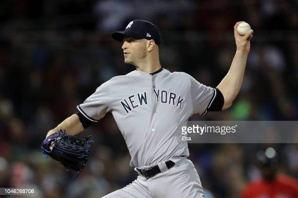 A Happ of the New York Yankees delivers a pitch in the first inning of Game One of the American League Division Series against the Boston Red Sox at...