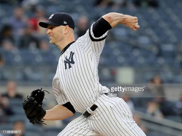 A Happ of the New York Yankees delivers a pitch in the first inning against the Seattle Mariners at Yankee Stadium on May 09 2019 in the Bronx...