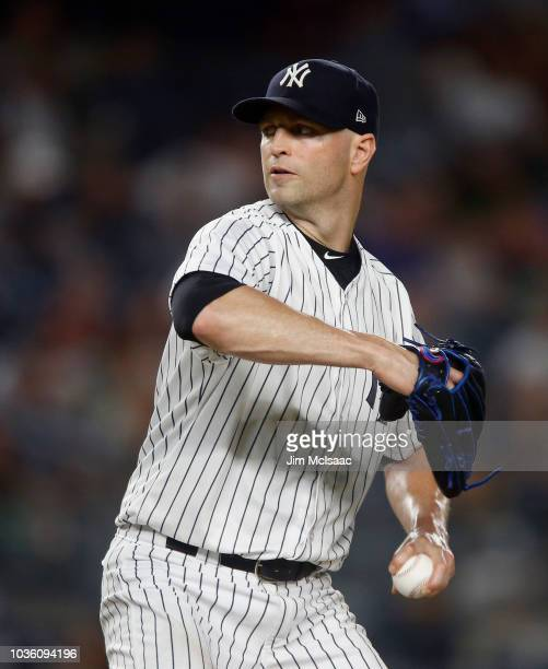 A Happ of the New York Yankees in action against the Boston Red Sox at Yankee Stadium on September 18 2018 in the Bronx borough of New York City The...