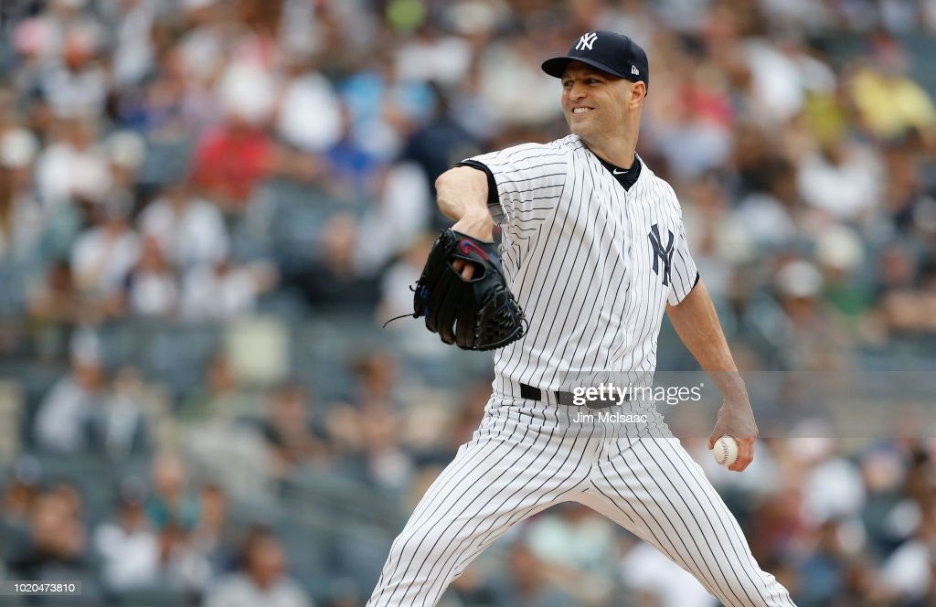 J.A. Happ #34 of the New York Yankees in action against the Toronto Blue Jays at Yankee Stadium on August 19, 2018 in the Bronx borough of New York City. The Yankees defeated the Blue Jays 10-2.