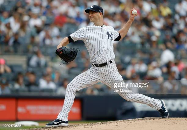 A Happ of the New York Yankees in action against the Toronto Blue Jays at Yankee Stadium on August 19 2018 in the Bronx borough of New York City The...