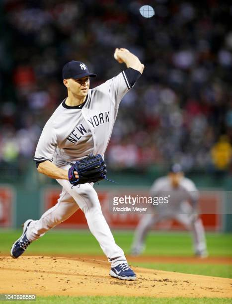 A Happ of the New York Yankees pitches against the Boston Red Sox during the first inning at Fenway Park on September 28 2018 in Boston Massachusetts