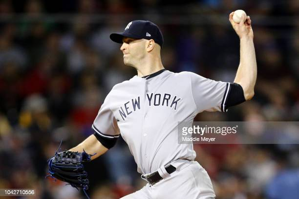 A Happ of the New York Yankees pitches against the Boston Red Sox during the second inning at Fenway Park on September 28 2018 in Boston Massachusetts