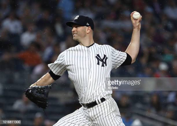 A Happ of the New York Yankees pitches against the tb during their game at Yankee Stadium on August 14 2018 in New York City
