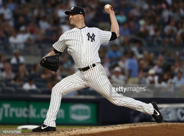 A Happ of the New York Yankees pitches against the Texas Rangers during their game at Yankee Stadium on August 9 2018 in New York City