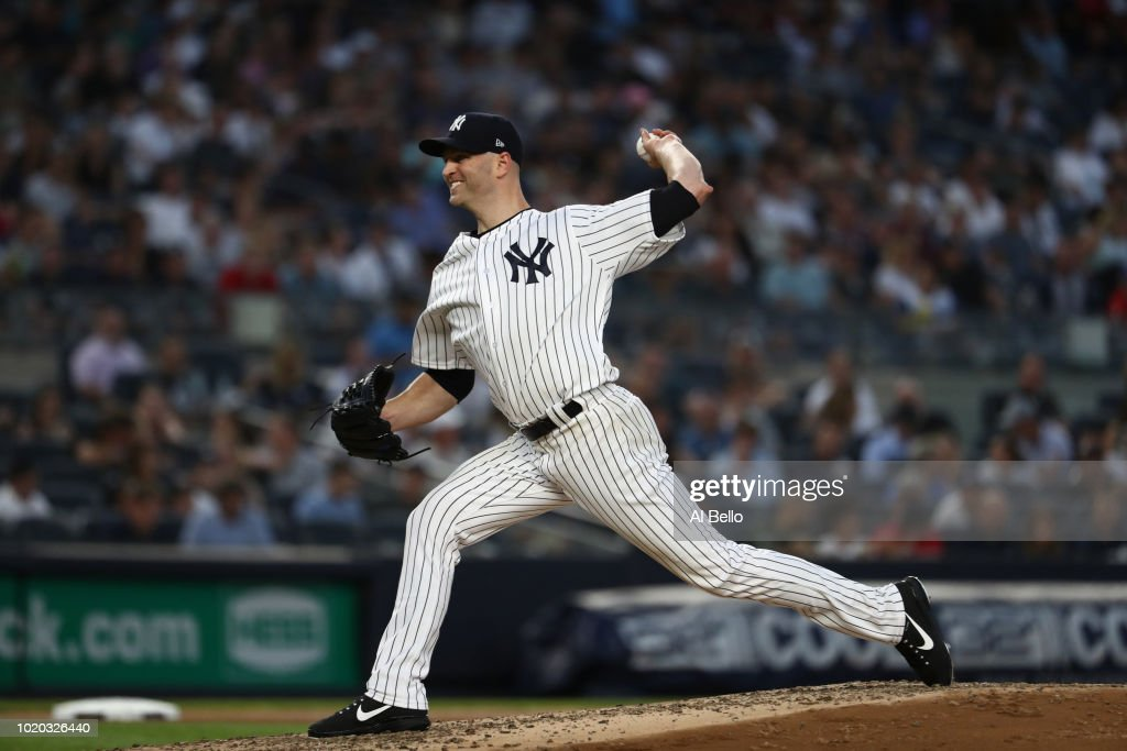 J.A. Happ #34 of the New York Yankees pitches against the Texas Rangers during their game at Yankee Stadium on August 9, 2018 in New York City.