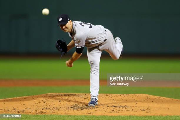 A Happ of the New York Yankees pitches during the game against the Boston Red Sox at Fenway Park on Friday September 28 2018 in Boston Massachusetts