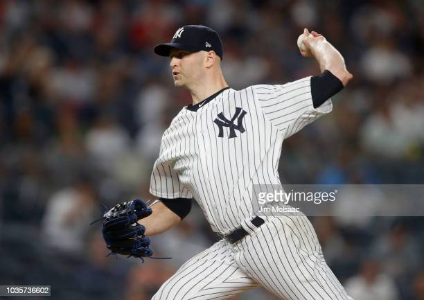 A Happ of the New York Yankees pitches during the second inning against the Boston Red Sox at Yankee Stadium on September 18 2018 in the Bronx...