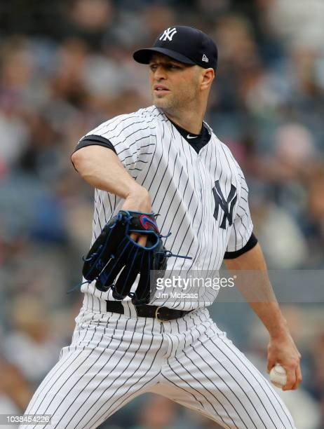 A Happ of the New York Yankees pitches during the second inning against the Baltimore Orioles at Yankee Stadium on September 23 2018 in the Bronx...